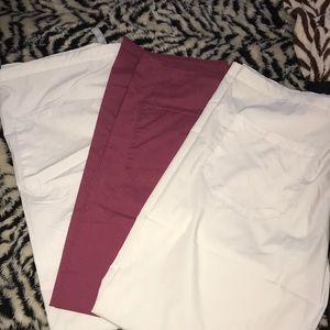 Pants - Scrub pants white/maroon Bundle of 3 pre owned